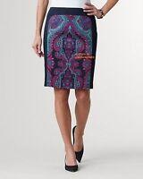 Coldwater Creek Mirror Paisley Skirt Black Sz 16 Lined 3% Elastane (spandex)