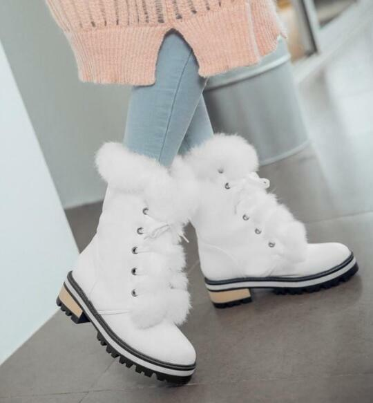 Womens Low Heels Faux Fur Mid Calf Snow Boots Round Toe Lace Up Warm shoes