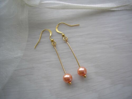 Handmade Coloured Pearl Long Drop Dangle Earrings Bridal Bridesmaid Wedding 32E