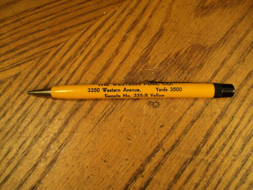 Vintage Wearever Fat Mechanical Pencil Western Fuel Co. Sample No. 335R Yellow