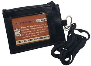 Genuine-Leather-ID-Badge-Holder-Neck-Pouch-Ring-Wallet-with-strap-067R-Black