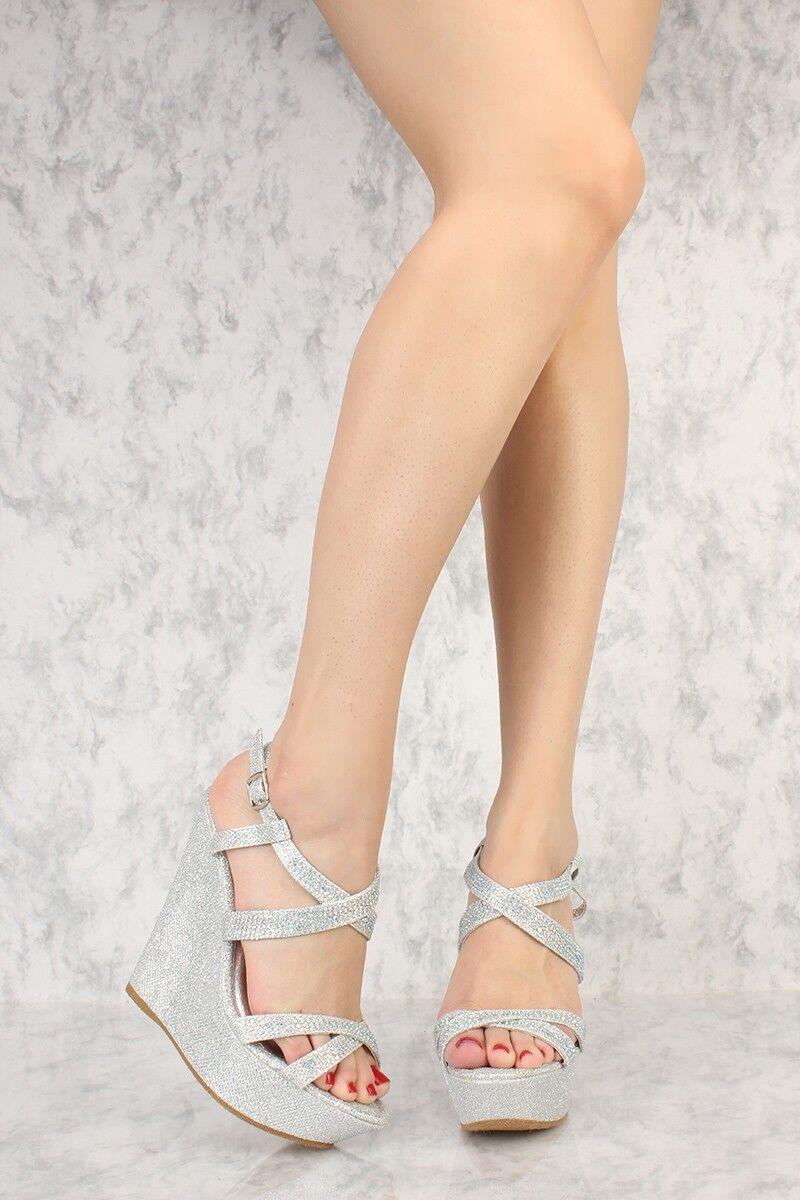 Lot Silver Silver Silver gold Star Rhinestone Anti Gravity Wedges Fabric Pumps Stilletos shoes 0bcbac