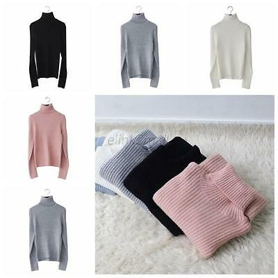 Women Lady Turtleneck Long Knit Casual Long Sleeve Pullover Outwear Tops Sweater