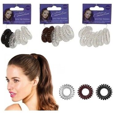 Spiral Hair Band Stretchy Elastic Bobbles Plastic Clear Girl Ponytail  UK AC1050