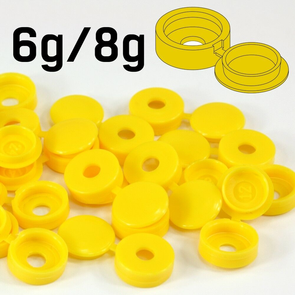 SMALL Gelb PLASTIC SCREW COVER CAPS HINGED FOLD OVER TO FIT SIZE 6g / 8g GAUGE