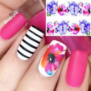 Nail-Art-Water-Decals-Wraps-Purple-Pink-Summer-Flowers-Floral-Gel-Polish-131