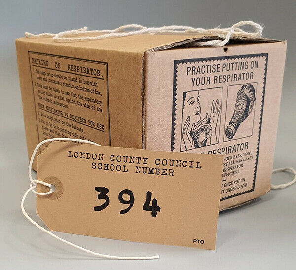 1940s/WW2 Blitz Air Raid-Childs GAS MASK BOX & Deluxe luggage label SET OF 5