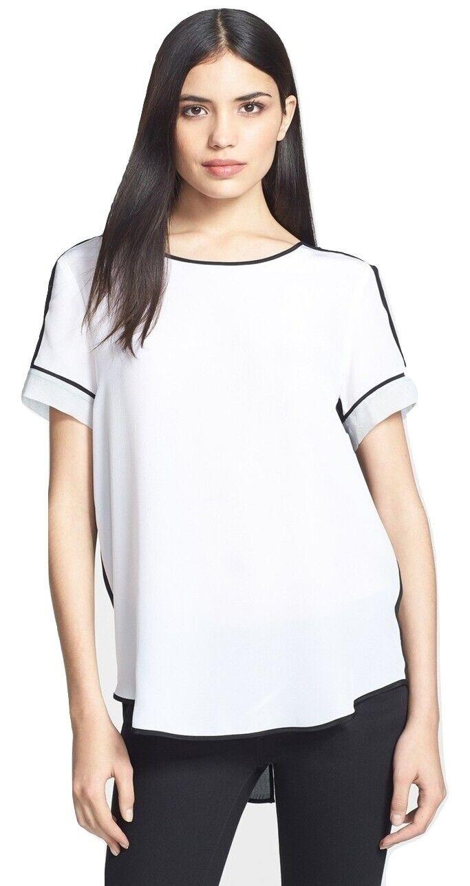 Rebecca Taylor Short Sleeve w  Silk Inserts Top Blouse schwarz Weiß 0 Nwt