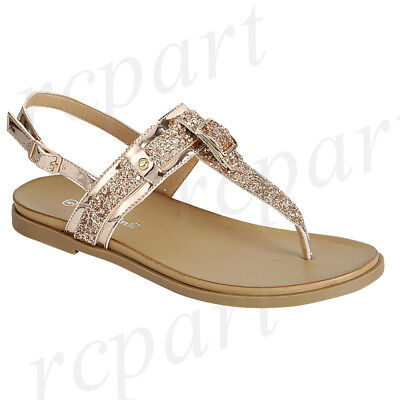 New women/'s shoes sandal t strap summer buckle closure comfort beach Rose Gold