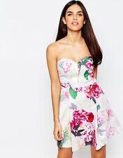 LIPSY Kleid NEU 38 Cocktailkleid Abendkleid Damen Blumen creme apart DR07546 368