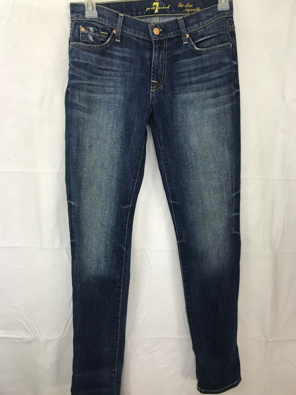 7 FOR ALL MANKIND Womens Sz 27  The Slim Cigarette Distressed Skinny Denim Jeans