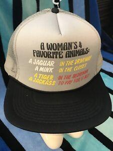 NOS-Vtg-A-WOMANS-4-FAVORITE-ANIMALS-Novelty-Trucker-Mesh-Snapback-Hat