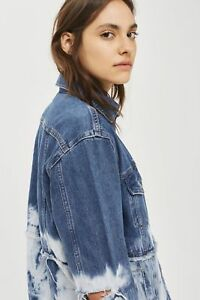 Topshop-Moto-Tie-Dye-Denim-Oversize-Distressed-Jacket-Blue-White-UK-10-12-14