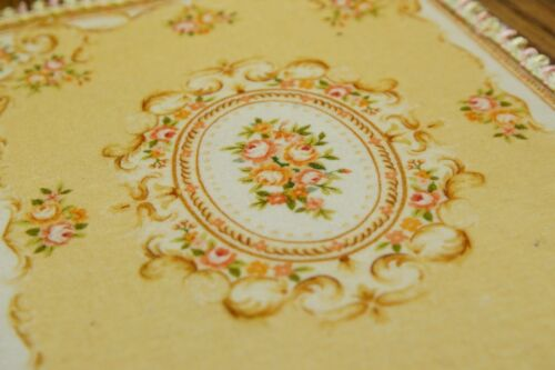 French Aubusson Design 1:12 Dollhouse Miniature Rug Nice Tan Beige Lace