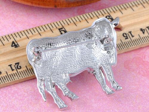 Cristal Transparent Blanc élément émail peint Moo Vache Rose Accent MAMELLES Broche
