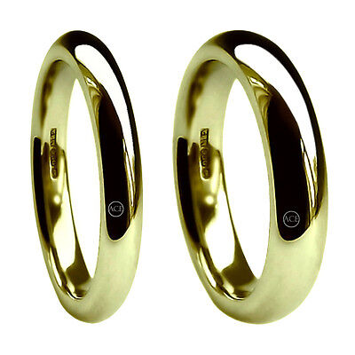 Diskret 9ct Yellow Gold Court Comfort Wedding Rings 3&6mm X Heavy 12.8g 375 Uk Hm Bands Eine Lange Historische Stellung Haben