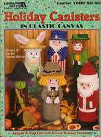 Holiday Canisters Witch Santa Pilgrim Bunny Plastic Canvas Pattern Book Rare