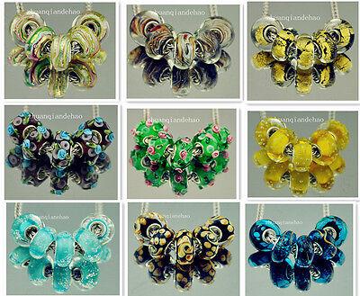 10pcs SILVER MURANO GLASS BEAD fit European Charm Bracelet