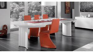 Tavolo moderno bianco lucido tondo allungabile fino a 283 for Tavolo tondo allungabile moderno