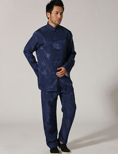 Handmade Chinese Men s Silk Satin Kung Fu Suit Pajamas BLUE SZ  M L ... cc9a7c45e