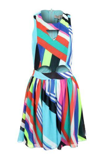 Ladies Multi Colour Stripe Cut Out Front Flare Skirt Women/'s Short Dress 8-14