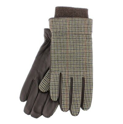 Clever 'liam' Wool Check & Brown Leather Gloves S/m Or L/xl