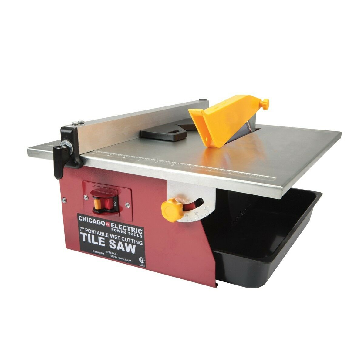 Chicago Electric 69231 7 Portable Wet Cutting Tile Saw Power Tool