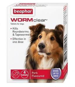 COMPRIMES-de-DEPARASITAGE-de-chien-BEAPHAR-WORMCLEAR-VET-force-ASCARIS-TENIA-jusqu-039-a-40kg