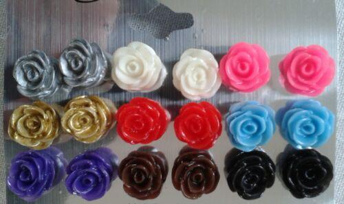 LOT 9 paire boucle d/'oreille fleur couleur assortie puce 12 MM neuf