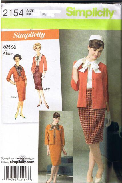 Vintage Anni '60 Rétro Blusa Gonna Giacca Cardigan in Maglia Cartamodello