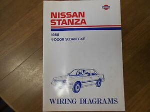 Details about 1988 Nissan Stanza Wiring Diagram 4 Door Sedan GXE Service on
