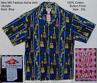 NEW HAWAIAN ALOHA SHIRT KOA KAMAKA GUITARS UKULELE  ALOHA SHIRT COOL SIZE 2XL