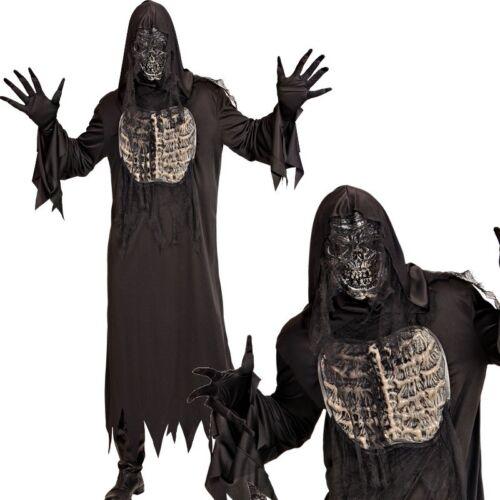 Robe m.Kapuze Handschuhe Maske DÄMON ZOMBIE Skelett Herren Kostüm 3tlg