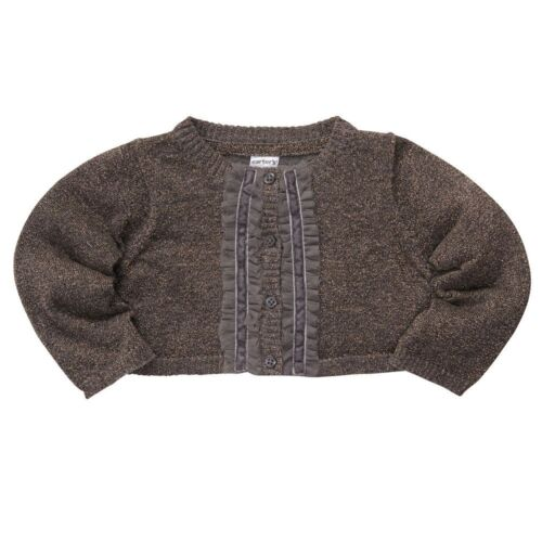 NWT Carter/'s Infant Girls 3 6 9 M Months Gray Gold Sparkle Knit Cardigan Sweater