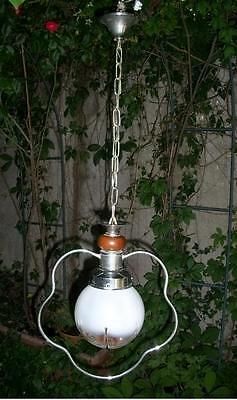 Antiques Vintage Lampadario Vetro Opalina A Palla Art Design Anni '50/'60 X Bagno Cucina To Have A Long Historical Standing