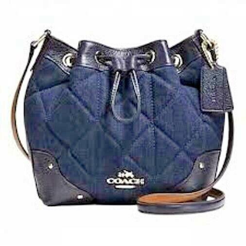 Coach Quilted Denim Baby Mickie Drawstring Crossbody Shoulder Bag Purse 37489