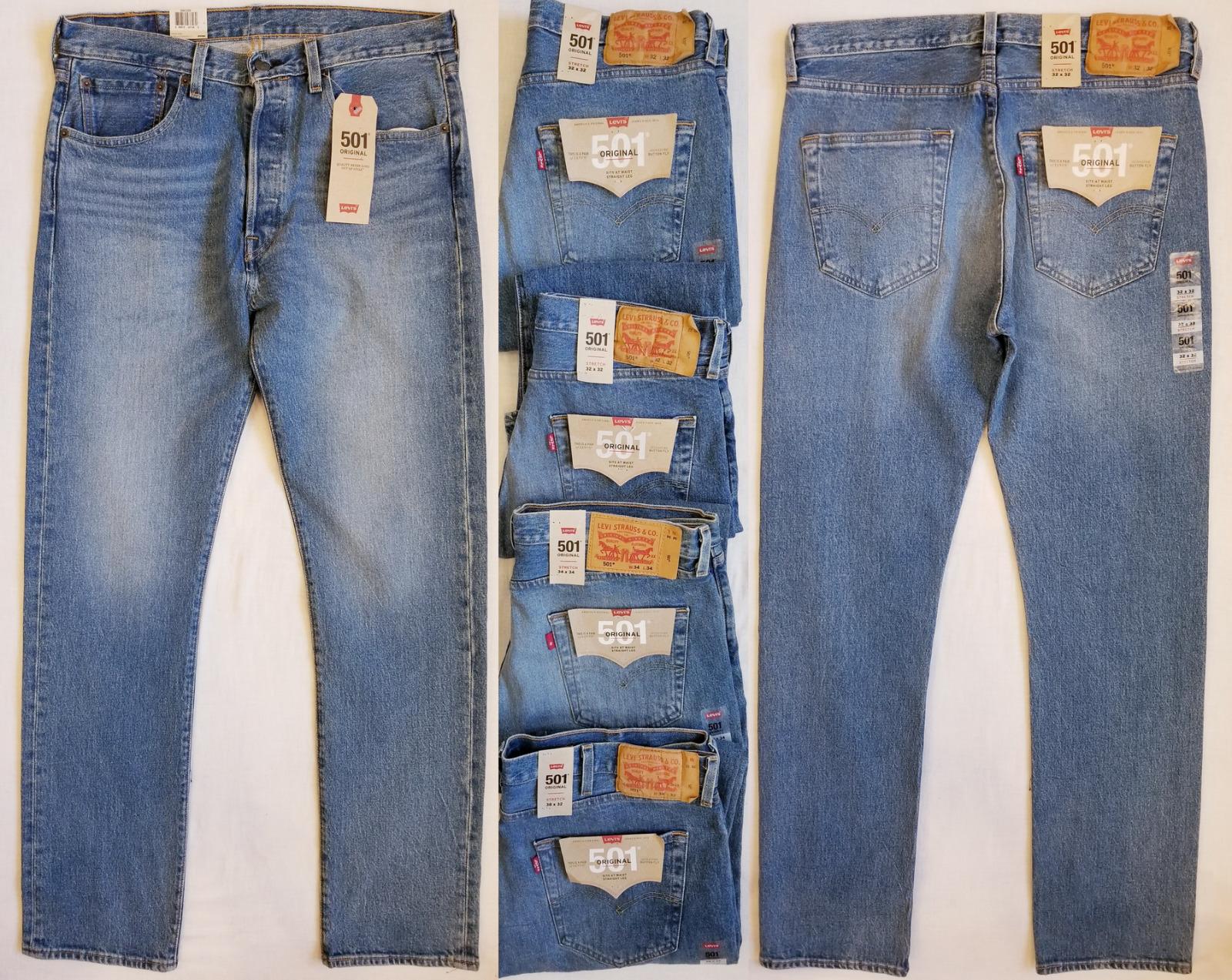 32x32 Men's New Levi's 501 Original Fit Stretch Dark Denim Jeans NWT 34x30