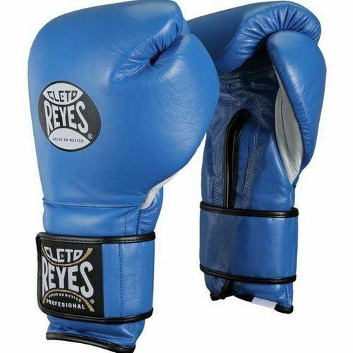 Navy Silver Leather Hook And Loop Sting Predator Boxing Training Gloves