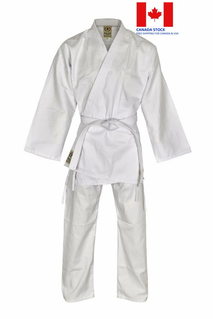 BATTLESTAR WHITE  UNISEX KARATE GI- Light Weight 8 Ounce Karate Uniform with Belt  cheaper prices