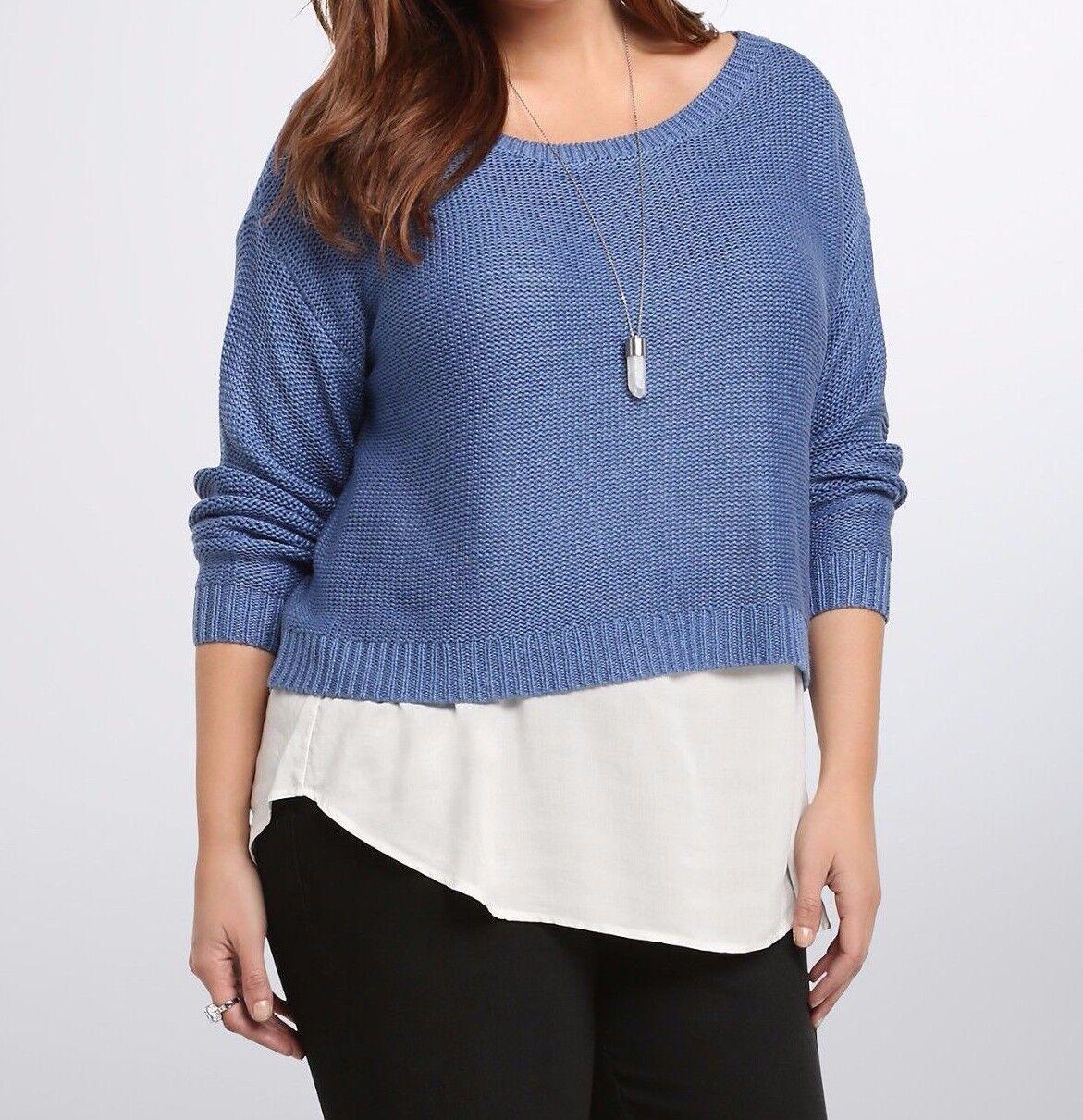Torrid Light bluee & White Tank Knit Layered Sweater  Sz  0 0X 13191