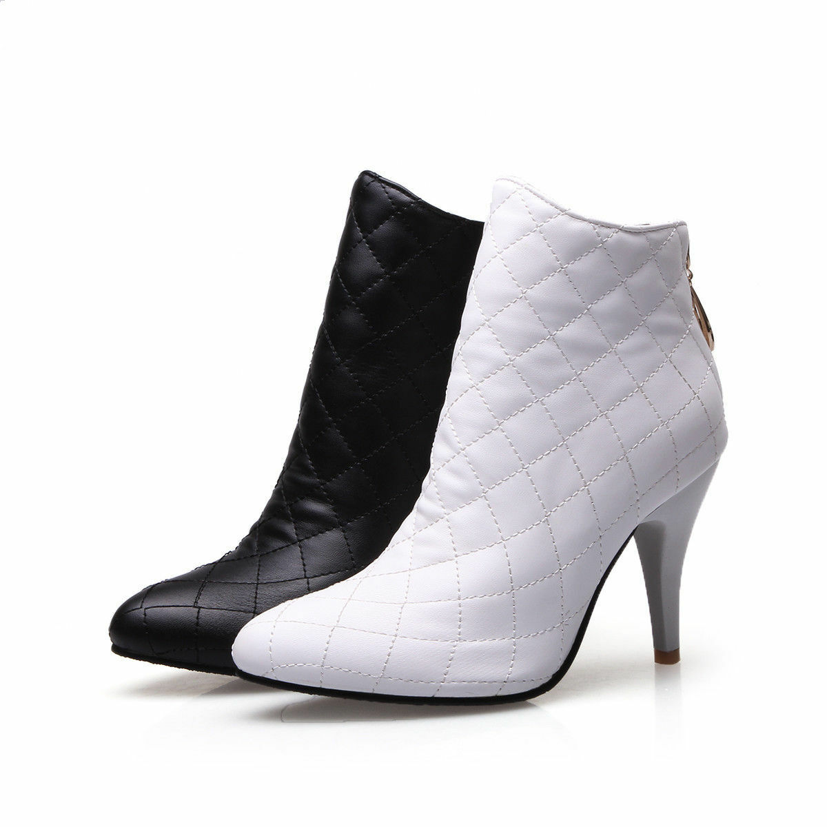 Women's High Heel Zip Ankle Boots Synthetic Leather Pointed Plus Size shoes O135