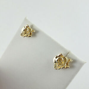 6d19dede5 Solid 10K Yellow Gold 13mm Rose Flower Stud Earrings, 3.5 grams ...