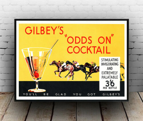 Alcoholic drink  advertisment Gilbeys odds on cocktail poster reproduction.