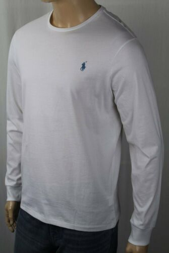Polo Ralph Lauren White Long Sleeve Custom Crewneck Tee T-Shirt Blue Pony NWT