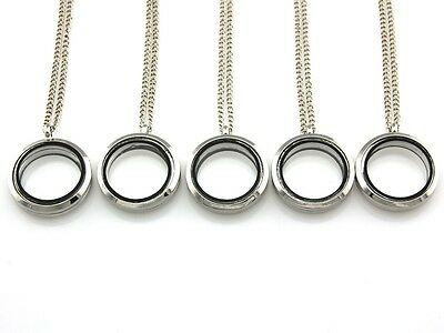 "5 x 10 x Living Memory Floating Charm Roun Glass Locket Pendant Necklaces 20"""