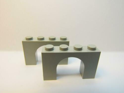 2 Arch 1 x 4 x 2 LIGHT GRAY LEGO Parts~ old 6182 Brick