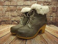 Ladies Jeffrey Campbell Woodies Mink Leather Lace Up Ankle Boots UK 5