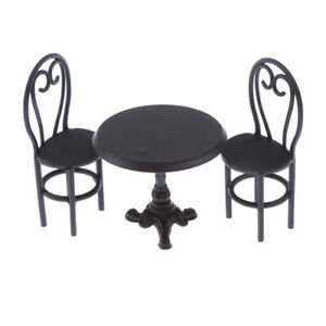 Dollhouse Room Balcony Lounge Furniture 1//12 Black Table with 4 Chairs Set