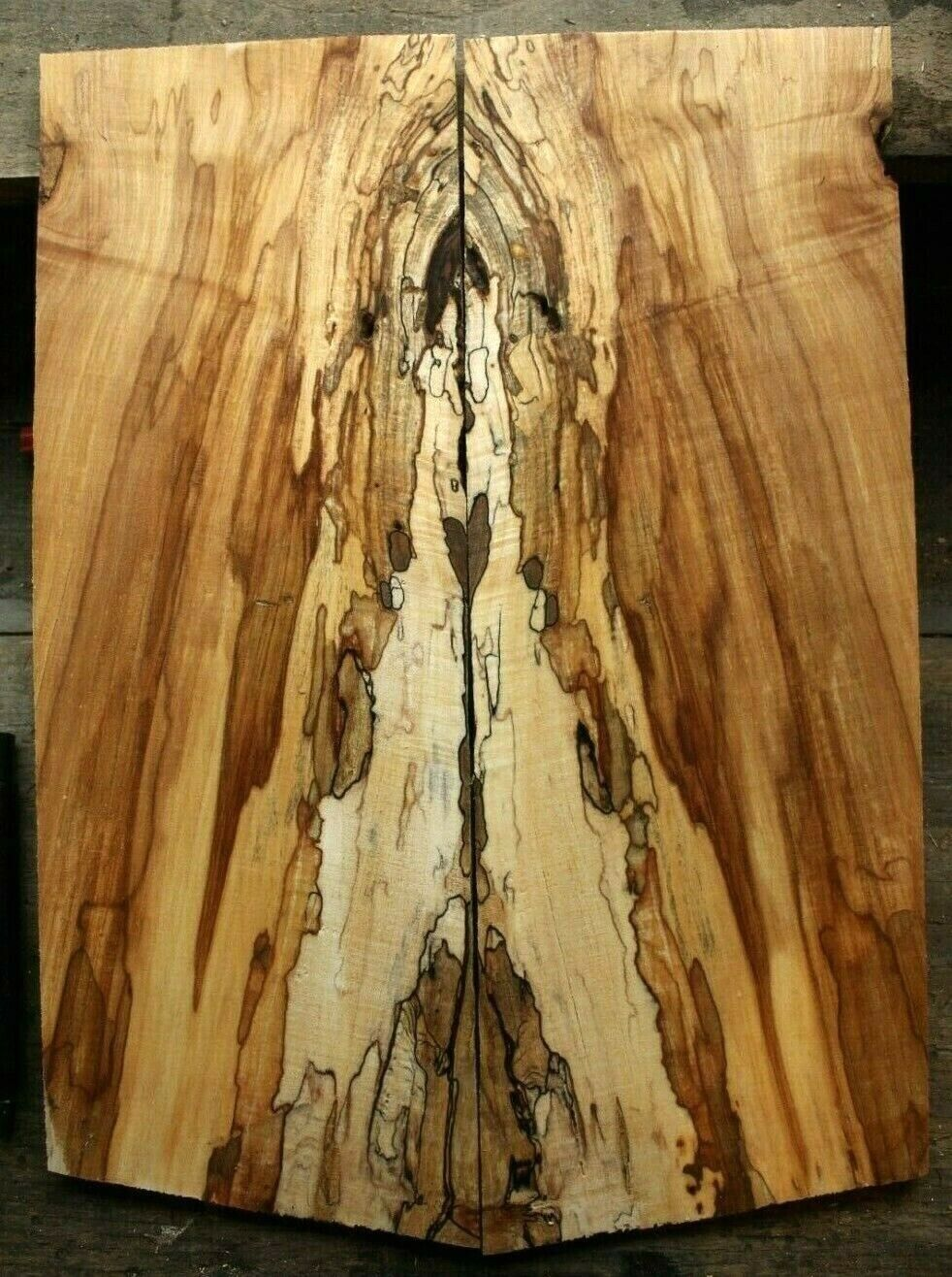 Gorgeous curly spalted ambrosia maple top .30  thk guitar bass tele strat 983