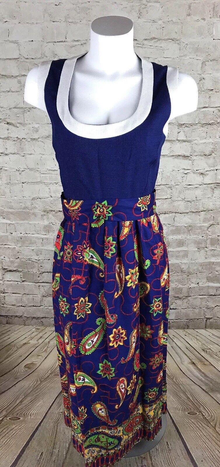 JAY KOBRIN DRESS Vintage Sleeveless Maisonette Long Paisley Size 10